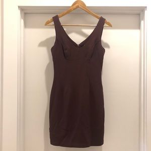BCBG Maxazria brown fitted cocktail dress